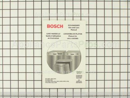 Bosch Use & Care Manual, Shu/shi/shv (fd 8105 & Above) 00481837 from AppliancePartsPros.com