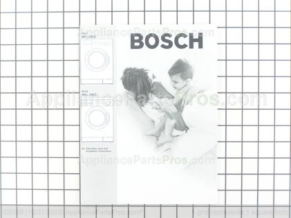 Bosch Use & Care Manual, with Installation Instructions, Wfl 2060 529445 from AppliancePartsPros.com