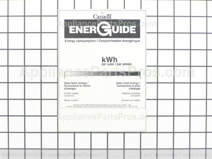 Frigidaire Energy Guide 134186600 from AppliancePartsPros.com