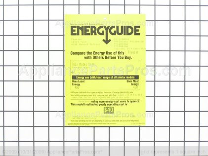 Frigidaire Energy Guide 216794400 from AppliancePartsPros.com
