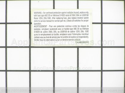 Frigidaire Label 5304440334 from AppliancePartsPros.com