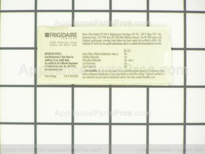 Frigidaire Label-Water Filter (not Illustrated) 218732301 from AppliancePartsPros.com