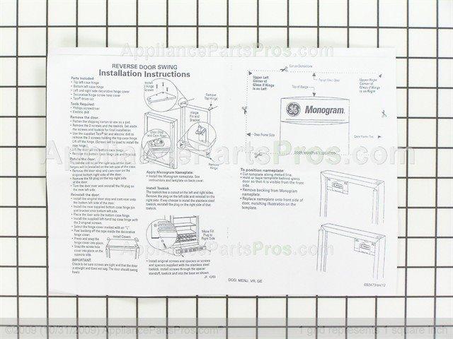 ... GE Reverse Door Hinge Kit WR13X10275 from AppliancePartsPros.com  sc 1 st  Appliance Parts Pros & GE WR13X10275 Reverse Door Hinge Kit - AppliancePartsPros.com