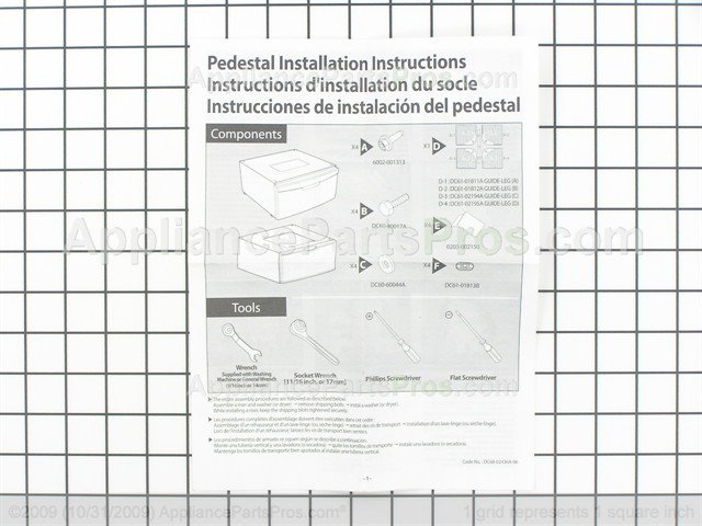 Samsung Dc99 00870b Pedestal Installation Kit