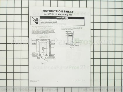 Whirlpool Brackt-Kit 9870118A from AppliancePartsPros.com