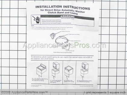 Whirlpool Clutch Band and Lining Kit 285790 from AppliancePartsPros.com
