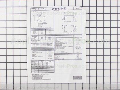 Whirlpool Compressor W10139462 from AppliancePartsPros.com