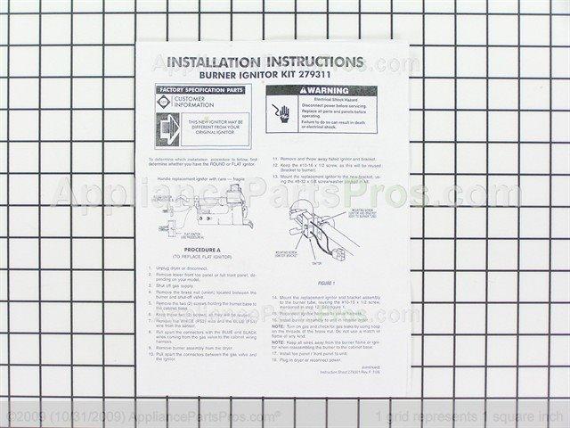 whirlpool 279311 dryer igniter kit and bracket