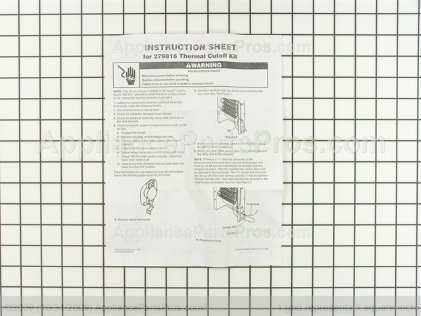 Whirlpool Dryer Thermal Cut-Off Kit 279816 from AppliancePartsPros.com