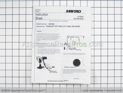 Whirlpool Exhaust Duct Kit Y304652 from AppliancePartsPros.com