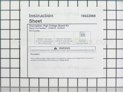 Whirlpool Hv Lv Board Internation Kit 12002331 from AppliancePartsPros.com