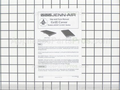 Whirlpool Jenn-Air Electric Grill Cover Accessory A341 from AppliancePartsPros.com
