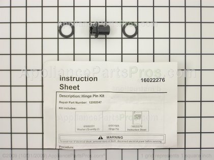 Whirlpool Kit, Lower Hinge Pin 12002047 from AppliancePartsPros.com