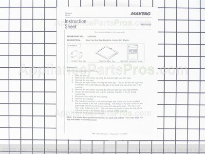 Whirlpool Main Top Kit (blk) 12001850 from AppliancePartsPros.com