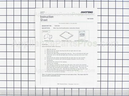 Whirlpool Main Top Kit (wht) 12001853 from AppliancePartsPros.com