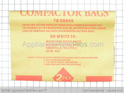 "Whirlpool Trash Compactor Bags, 15"", Paper-12 Pack 675186 from AppliancePartsPros.com"
