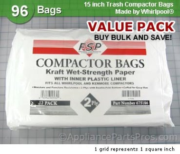 Whirlpool Universal Trash Compactor Bags 675186BULK from AppliancePartsPros.com