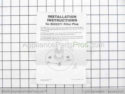 Whirlpool Washer Filter Plug Kit 285868 from AppliancePartsPros.com