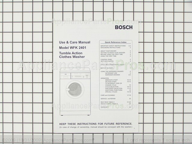 Bosch wfk 2401 user manual | 16 pages.